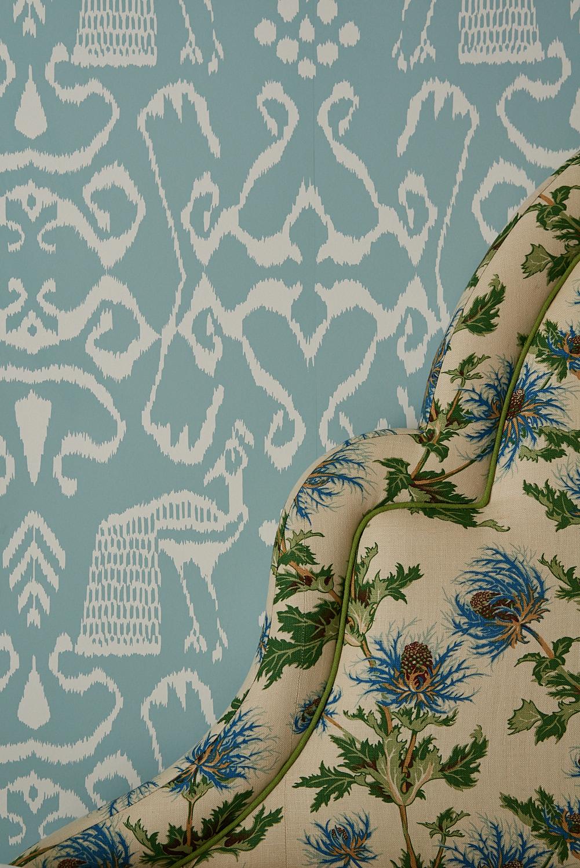 Detail of upholstered floral headboard