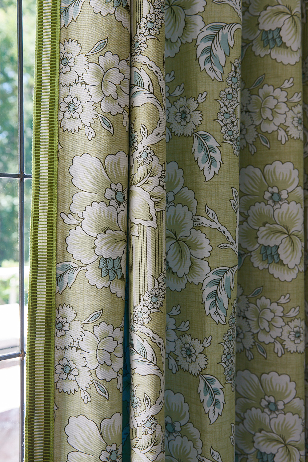 Floral blackout drapery with trim