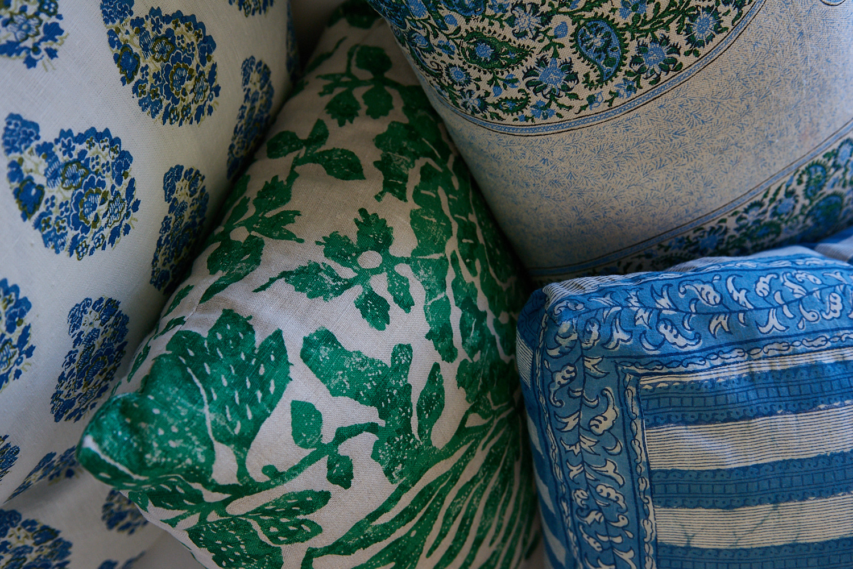 Detail of custom throw pillows